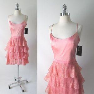 Pink Silk Chiffon Ruffle Skirt Party Dress